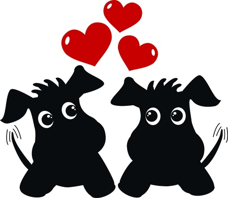 two sweet dogs in love Vector