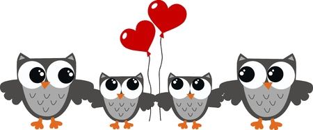 owl family Stock Vector - 15238567