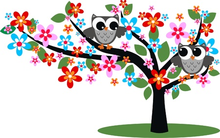 owl cartoon: two flirty owls in a tree