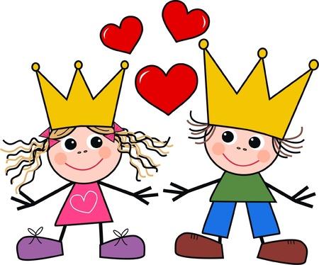 ni�os dibujando: un chico y una chica enamorada