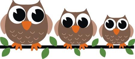 three brown owls Illustration