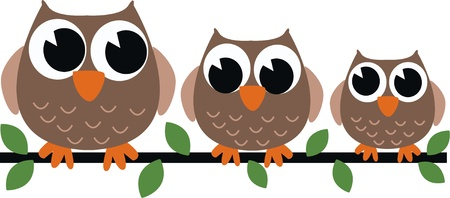 stock image: three brown owls Illustration