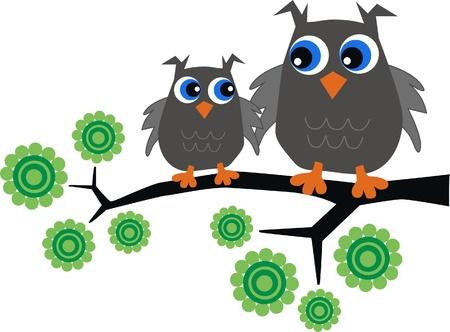 dos búhos que se sientan en un árbol