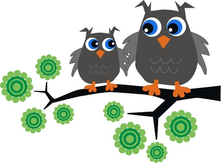 two owls sitting in a tree Vector
