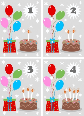 number four: four birthday cards Illustration