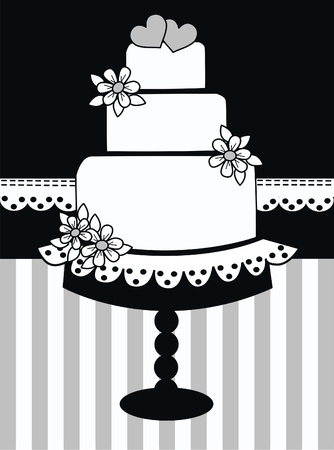 wedding cake: wedding invitation Illustration