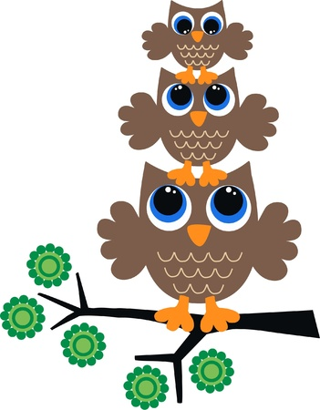 owl cartoon: three brown owls Illustration