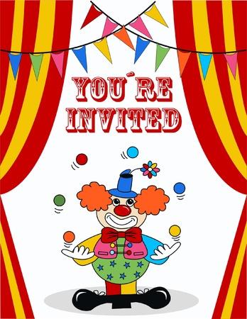 clown cirque: invitation d'anniversaire