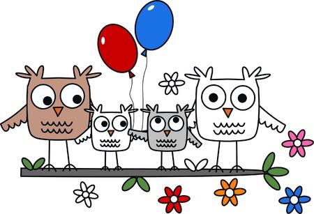caricaturas de animales: familia b�ho cabecera celebraci�n Vectores