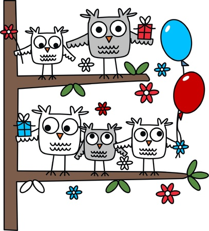 birdie: a group of owls sitting in a tree Illustration
