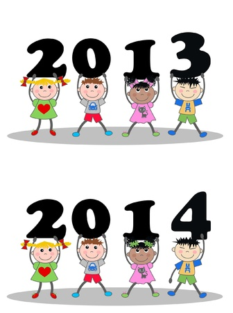 year 2013 and 2014 Stock Vector - 16052304
