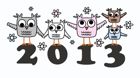 2013 new year owls calendar Stock Vector - 16401082