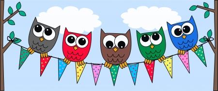 buhos: búhos coloridos