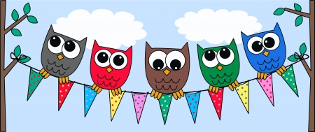 header image: colorful owls