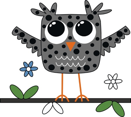 a sweet little grey owl Vector