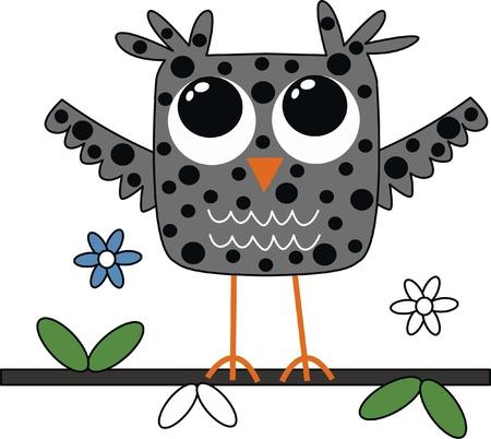 a sweet little grey owl Stock Illustratie