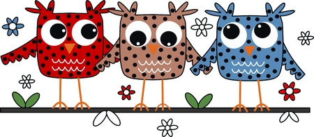 royalty free illustrations: three sweet owls