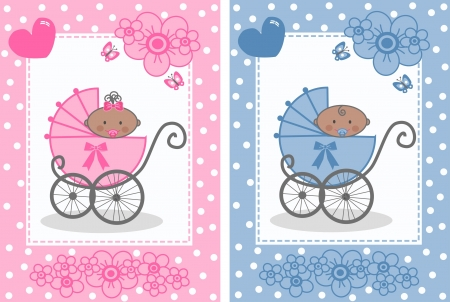 royalty free illustrations: baby announcement boy girl