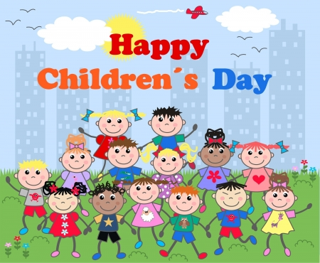 asian friends: happy children�s day