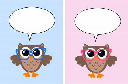 smart owls with speech bubbles Vector