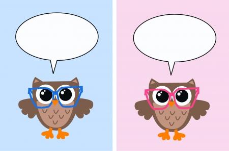 smart card: smart owls with speech bubbles