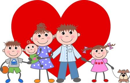 caricaturas de animales: valentines day amor familia unida Vectores