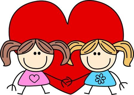 cartoons outline: valentines day love friendship