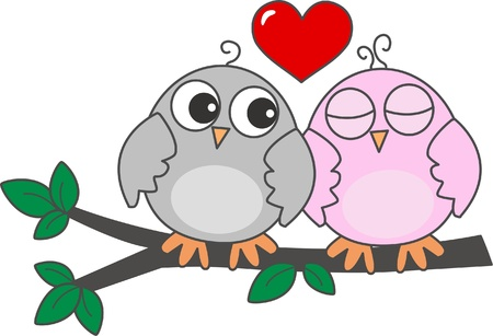 wise woman: two owls in love Illustration