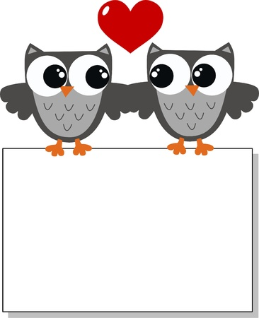 two owls in love Stock Vector - 17389064