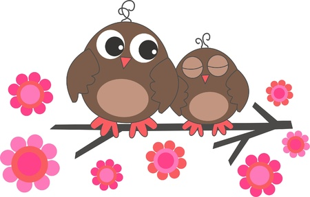two sweet owls Vector