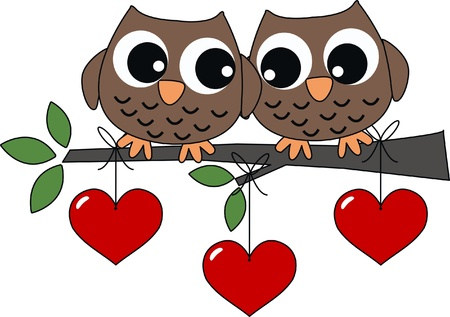 owl on branch: two sweet owls in love Illustration