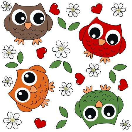seamless owl background Stock Vector - 17568137