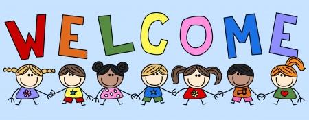 welcome sign: ethnique �preuve mixte enfant enfants invitation Illustration