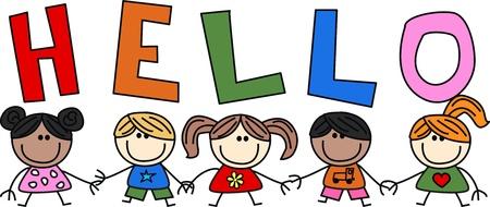 mixed ethnic children header banner for website Stock Illustratie