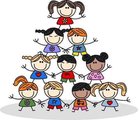 mixed ethnic children teamwork