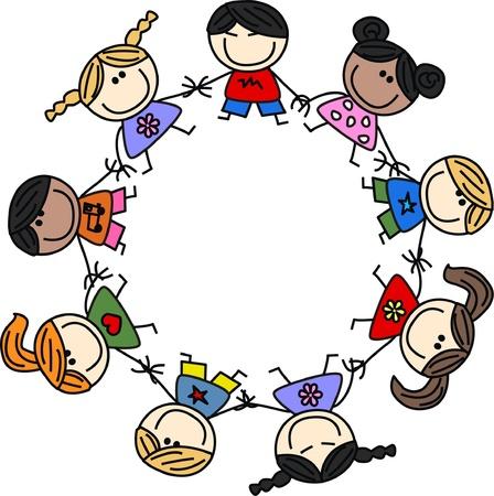 民族の子供たちのチームワークを混合  イラスト・ベクター素材