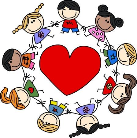mixed ethnic children love