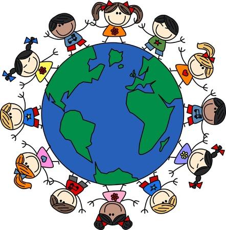 nações: crian�as �tnicos mistos Ilustração