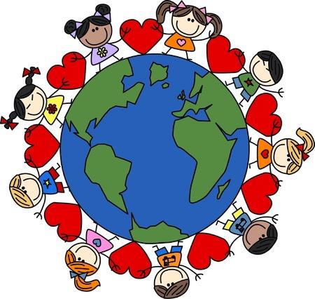 multicultureel: gemengde etnische gelukkige kinderen houden Stock Illustratie