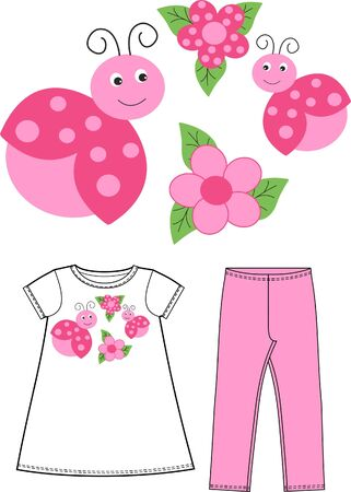 pattern for childrens wear clothing Vector