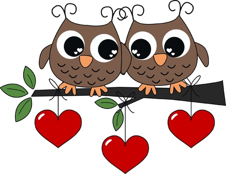 owl on branch: valentines day or other celebration love
