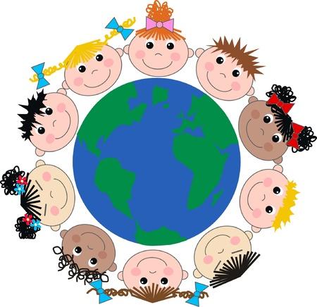 nações: crian�as felizes �tnicos mistos Ilustração