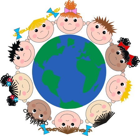 mixed ethnic happy children  Vector