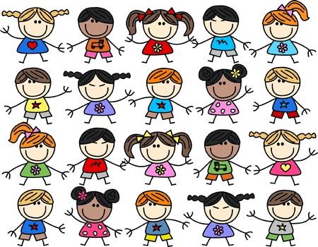 자손: 혼합 인종 행복한 아이들 배경 일러스트