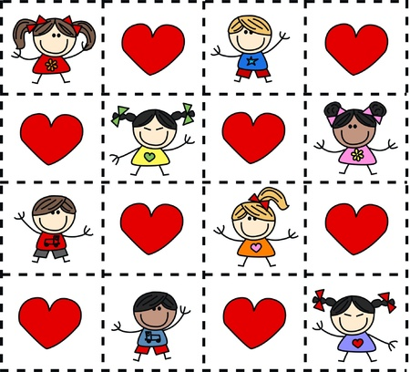 european culture: mixed ethnic happy children background love Illustration