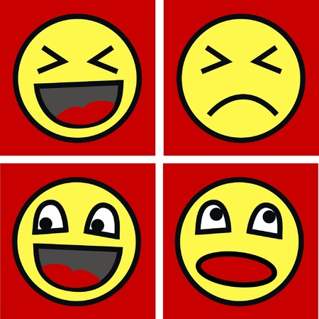 cartoons outline: funny faces Illustration