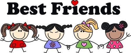 mejores amigas: los mejores amigos Vectores