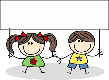 trẻ em: hai con với một tấm biển