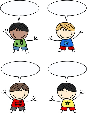 mixed etnic children with speech bubbles Stock Illustratie