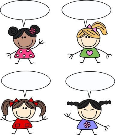 mixed etnic children with speech bubbles Vectores